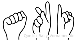 Aki im Fingeralphabet der Deutschen Gebärdensprache