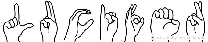 Lucifer im Fingeralphabet der Deutschen Gebärdensprache