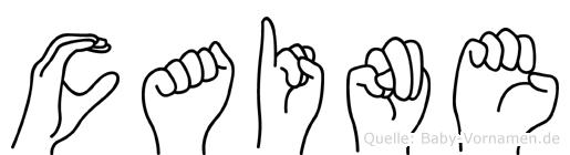 Caine im Fingeralphabet der Deutschen Gebärdensprache