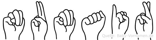 Numair im Fingeralphabet der Deutschen Gebärdensprache