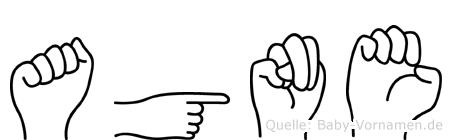 Agne im Fingeralphabet der Deutschen Gebärdensprache