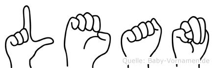Lean im Fingeralphabet der Deutschen Gebärdensprache