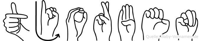 Tjorben im Fingeralphabet der Deutschen Gebärdensprache