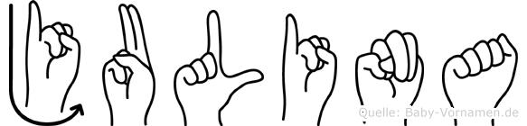 Julina im Fingeralphabet der Deutschen Gebärdensprache