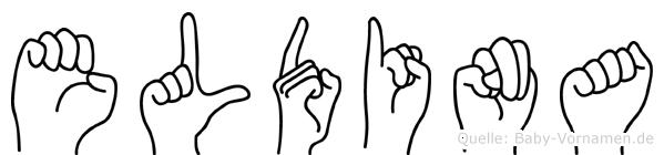 Eldina im Fingeralphabet der Deutschen Gebärdensprache