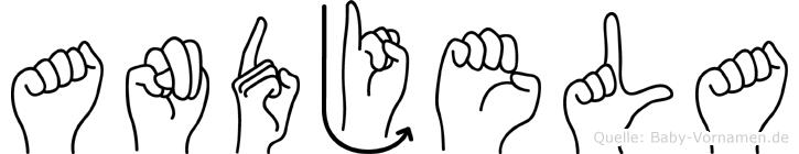 Andjela im Fingeralphabet der Deutschen Gebärdensprache