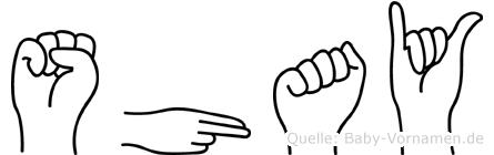 Shay im Fingeralphabet der Deutschen Gebärdensprache