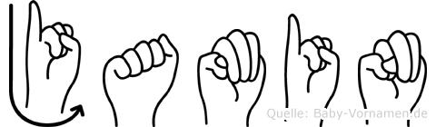 Jamin im Fingeralphabet der Deutschen Gebärdensprache
