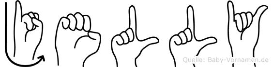 Jelly im Fingeralphabet der Deutschen Gebärdensprache