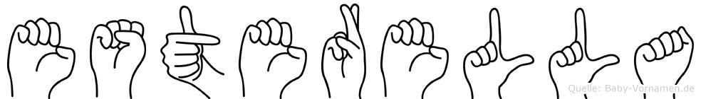 Esterella im Fingeralphabet der Deutschen Gebärdensprache