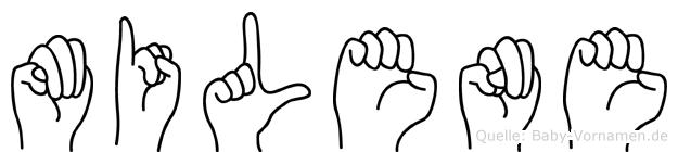 Milene im Fingeralphabet der Deutschen Gebärdensprache