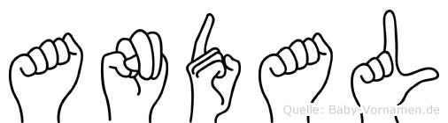 Andal im Fingeralphabet der Deutschen Gebärdensprache