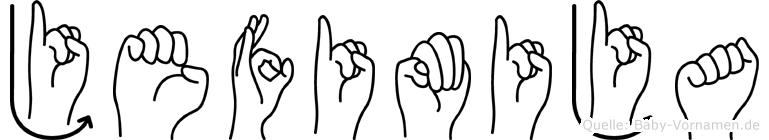 Jefimija im Fingeralphabet der Deutschen Gebärdensprache