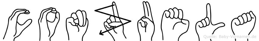 Conzuela im Fingeralphabet der Deutschen Gebärdensprache