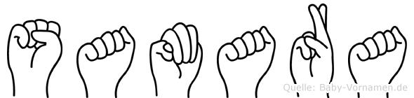 Samara im Fingeralphabet der Deutschen Gebärdensprache