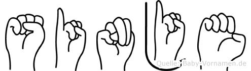 Sinje in Fingersprache für Gehörlose