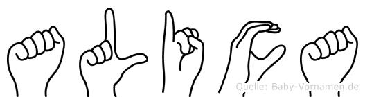 Alica in Fingersprache für Gehörlose