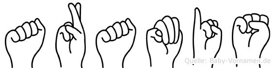 Aramis im Fingeralphabet der Deutschen Gebärdensprache