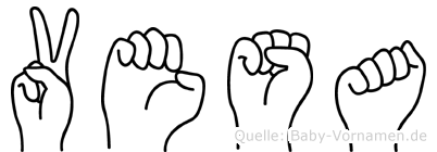 Vesa im Fingeralphabet der Deutschen Gebärdensprache