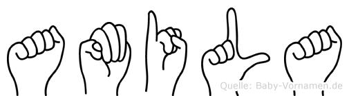Amila im Fingeralphabet der Deutschen Gebärdensprache