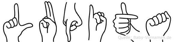 Lupita im Fingeralphabet der Deutschen Gebärdensprache