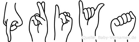 Priya im Fingeralphabet der Deutschen Gebärdensprache