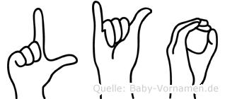 Lyo im Fingeralphabet der Deutschen Gebärdensprache