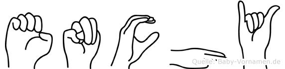 Enchy im Fingeralphabet der Deutschen Gebärdensprache