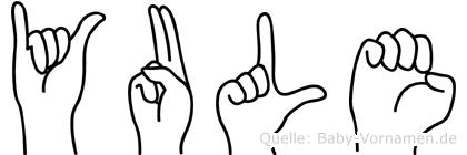 Yule im Fingeralphabet der Deutschen Gebärdensprache