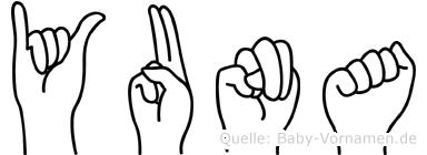 Yuna im Fingeralphabet der Deutschen Gebärdensprache