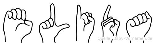 Elida im Fingeralphabet der Deutschen Gebärdensprache