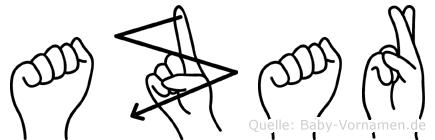 Azar im Fingeralphabet der Deutschen Gebärdensprache