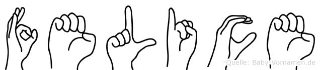 Felice im Fingeralphabet der Deutschen Gebärdensprache