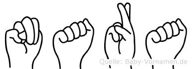 Nara im Fingeralphabet der Deutschen Gebärdensprache