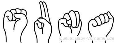 Suna im Fingeralphabet der Deutschen Gebärdensprache