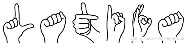 Latifa im Fingeralphabet der Deutschen Gebärdensprache