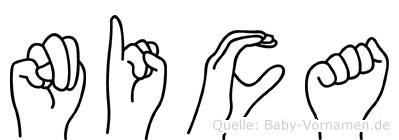 Nica im Fingeralphabet der Deutschen Gebärdensprache