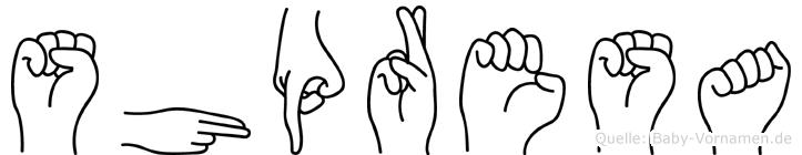 Shpresa im Fingeralphabet der Deutschen Gebärdensprache