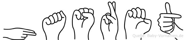 Hasret im Fingeralphabet der Deutschen Gebärdensprache