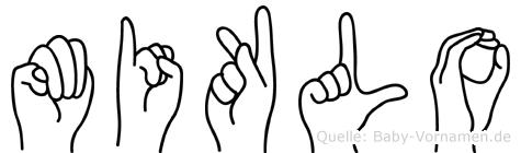 Miklo im Fingeralphabet der Deutschen Gebärdensprache