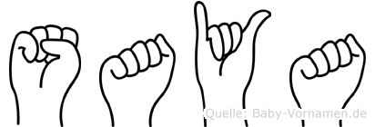 Saya im Fingeralphabet der Deutschen Gebärdensprache