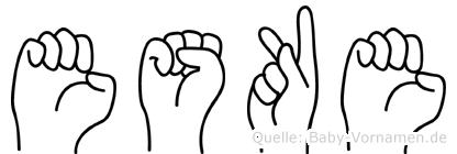 Eske im Fingeralphabet der Deutschen Gebärdensprache