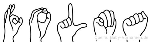Folma im Fingeralphabet der Deutschen Gebärdensprache