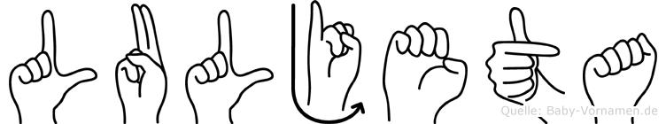 Luljeta im Fingeralphabet der Deutschen Gebärdensprache
