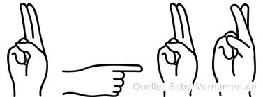 Ugur im Fingeralphabet der Deutschen Gebärdensprache