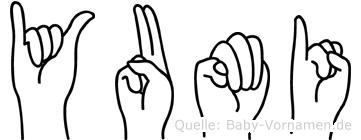 Yumi im Fingeralphabet der Deutschen Gebärdensprache