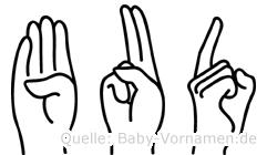 Bud im Fingeralphabet der Deutschen Gebärdensprache
