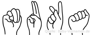 Nuka im Fingeralphabet der Deutschen Gebärdensprache