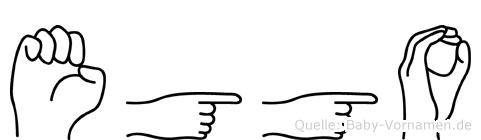 Eggo im Fingeralphabet der Deutschen Gebärdensprache