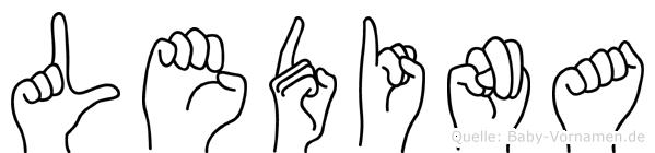 Ledina im Fingeralphabet der Deutschen Gebärdensprache